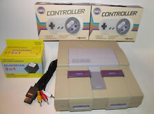 Super Nintendo SNES System Console Bundle w/ NEW Hookups & 2 NEW Remotes