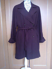 BNWOT LADIES KNEE LENGTH BROWN TRENCH MACK RAIN COAT WITH BELT SIZE 12