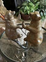 Heavy 2 Bear Designer Bookends Primitive Southwest Indigenous Carved Stone Metal