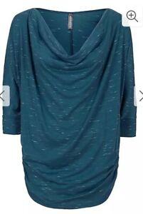 Rainbow Ladies Petrol Blue Baggy 3/4 Sleeve Top Size 14/16 r.r p £26/ now £19.99