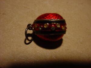 Vintage Sterling, Enamel, and Rhinestone Easter Egg Charm Bracelet Charm