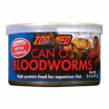 ZOO MED CAN O BLOODWORM 3.2 OZ BETTA DISCUS FISH FOOD AQUARIUM. FREE SHIP TO USA