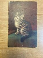 Antique Picture Postcard Panel Greeting Card Christmas 1913 Cat Kitten