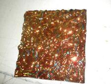 "Dichroic Glass Sheet:CBS Salmon on Rippled Textured Black 90COE 3"" Sq"