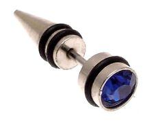 Una oreja Tapón Pendiente De Acero Quirúrgico 316L Azul Oscuro 114303