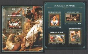 ST1874 2016 NIGER ART PAINTINGS OF ANIMALS KAHLO PICASSO RUBENS GOLD KB+BL MNH