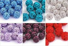 240 Pcs Shamballa Clay Crystal Rhinestone Disco Ball Beads 10mm -For  Bracelet