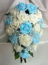 BRIDES TEARDROP BOUQUET , Wedding Flowers Ivory & Lt blue roses with diamante