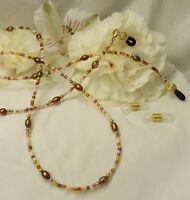 Brown & Bronze Pearl Eyeglass Chain 14k gold filled GF Lanyard w/removeable ends