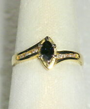 SOLID     14K  Gold   SAPPHIRE   Diamond   Fashion  Ring