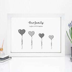 Personalised Family Print Gifts Birthday Gift For Mum Mummy Nan Nanny Grandma