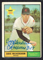 Dave Wickersham #381 signed autograph auto 1961 Topps Baseball Trading Card