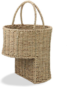 Seagrass Stair Basket | Rattan Wicker Basket | Step Storage with Handle | Decor