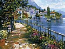 Howard Behrens Sunlit Stroll Europe Coastal Flowers City Canvas 24x32