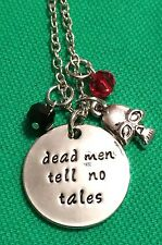 "Pirates Of The Caribbean Skull Necklace 💀 "" Dead Men Tell No Tales"" Johnny Depp"