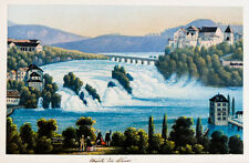 c1870 Schweiz Rheinfall Schaffhausen Kolorierte Aquatinta-Ansicht Dikenmann