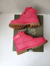 Pre Owned Timberlands Infants Toddler Kid Pink Leather Hiking Boots Bootie sz 8