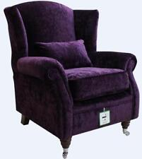 Ashley Wing Chair Fireside High Back Armchair Modena Aubergine Purple Velvet