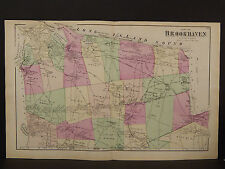 New York Long Island Map 1873 Brookhaven, Double Page N3#87