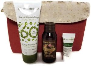 Yves Rocher Sample Cosmetic Bag Body Lotion & Argan Rose Shower Gel & Day Cream