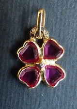 Pendentif en OR massif + pierres rouges bijou ancien trèfle à 4 feuilles