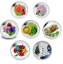 LOT of 7 - $20 SILVER COINS/ CANADA VENETIAN GLASS -2011 LADYBUG TO 2015 Turtle