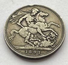1891 Queen Victoria Jubilee Head Solid Silver Crown - Good Condition