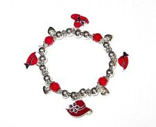 Red Hats Stretch Charm Bracelet Silver Tone Hearts Beaded Society Ladies