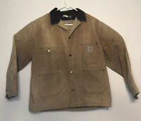 Vtg Carhartt Jacket Mens Duck Blanket Lined Trucker Work Distressed Size XL