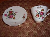 Bone China Argyle Tea Set 'Mother' Flower Pattern w/Gold Trim Made in England