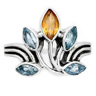 Natural Citrine and Sky Blue Topaz 925 Sterling Silver Ring s.9 Jewelry E526
