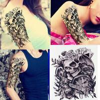 Skull Clock Rose Waterproof Removable Temporary Tattoo Sticker Body Arm LegArtSE