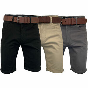 Mens Chino Shorts Crosshatch Knee Length Belted Roll Up Pants Designer Summer