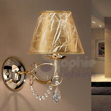 Applique lampada parete muro design moderno acciaio cromo oro paralume cristallo