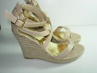 WOMENS TAN BONE PLATFORM WEDGE FLIP FLOPS THONGS SANDALS SHOES HEELS SIZE 9 M