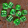 16mm 10Pcs Transparent Six Sided Spot Dice Toys D6 RPG Role Playing Game Green