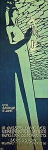 Secession 1890 Art Nouveau Poster Vintage Giclee Canvas Print 13x40