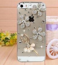 Bling Diamond/Plastic Ballerina & Grass Transparent Case for iPhone 5 5s 4 4s