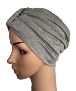 TURBAN FOR HAIR LOSS, MARL GREY STRETCH COTTON FABRIC, CHEMO, CANCER ALOPECIA