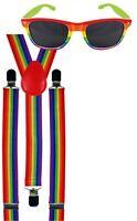Rainbow Gay LGBT Pride Braces Carnival Festival Fancy Dress Costume + Sunglasses