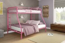 DHP Twin-Over-Full Bunk Bed with Metal Frame and Ladder, Space-Saving Design, Pi
