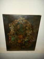 Large old oil painting, { Pretty still life with flowers }. Is antique!