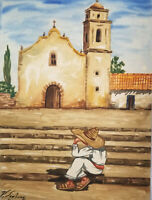 Old Spanish Watercolor Painting Signed V San Juan Sombrero Man Mission Steps