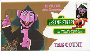19-161, 2019, Sesame Street, Digital Color Postmark, FDC, The Count, 50 Years