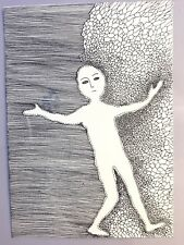 """Original surreal ink drawing on paper """"Free soul""""  11.8x8.3"""""""