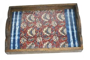 Wooden Rustic Glass Serving Tray With beautiful Indian Print Coffee Table Tray