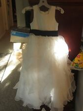 WHITE David's Bridal Flower Girl Communion Ruffle Dress and American Eagle Shoes