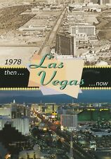 Postcard Las Vegas Nevada Then and Now 1978 Photo and Color Night Picture