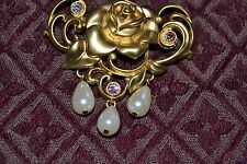 Vintage AVON Gold Plated Rose Brooch MUST SEE