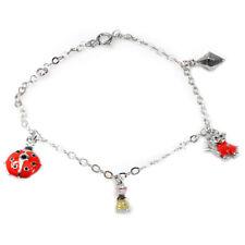 De Buman 925 Silver Enamel Beatle and Rabbit Bead fit Bracelet, 5.26 inches